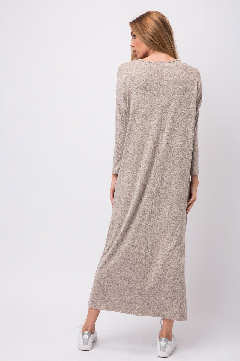 Taupe Hacci Knit Maxi Shirt Dress With Pockets On Either Side Siin Bees