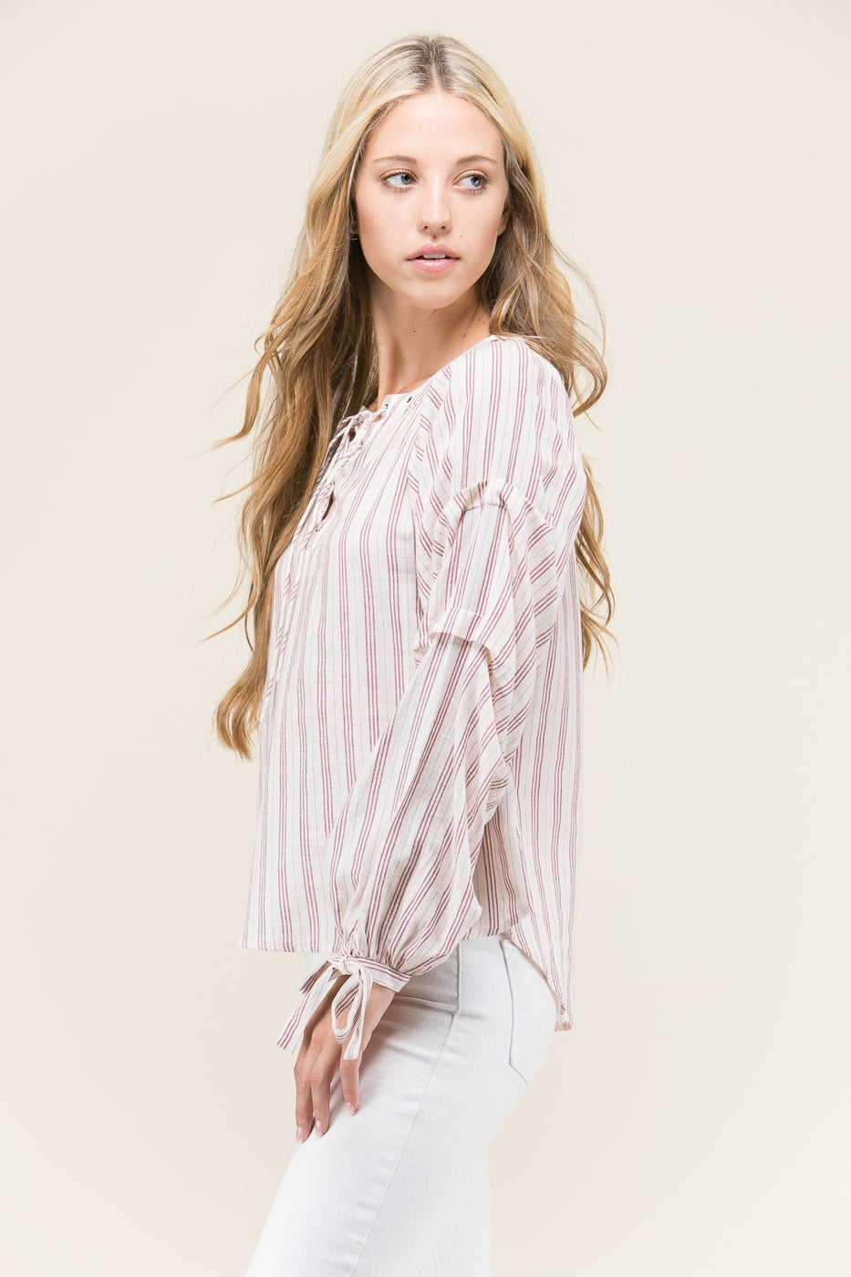 Cream Sleeve Stripe Woven Top With Ribbon Tie Wrinkled Detail Siin Bees