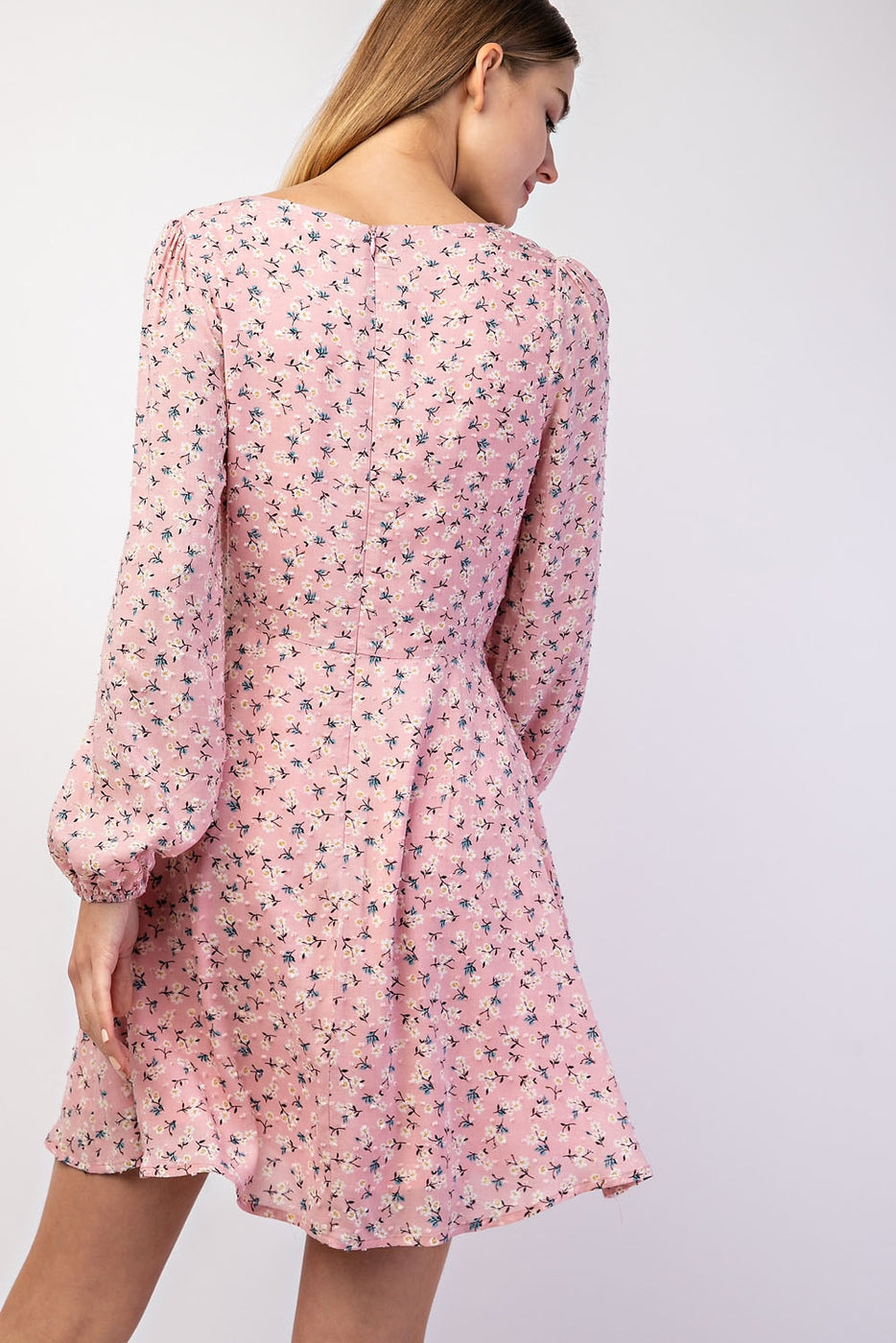 Long Sleeve Print Dress With Front Tie Siin Bees