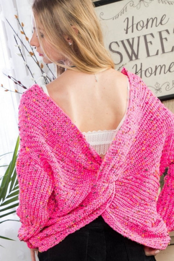 N.Pink Multi Polka Dot Twist Front or Back Sweater Siin Bees