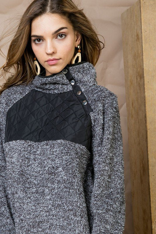 Charcoal Color block Fuzzy High Neck Button Detail Pullover Siin Bees