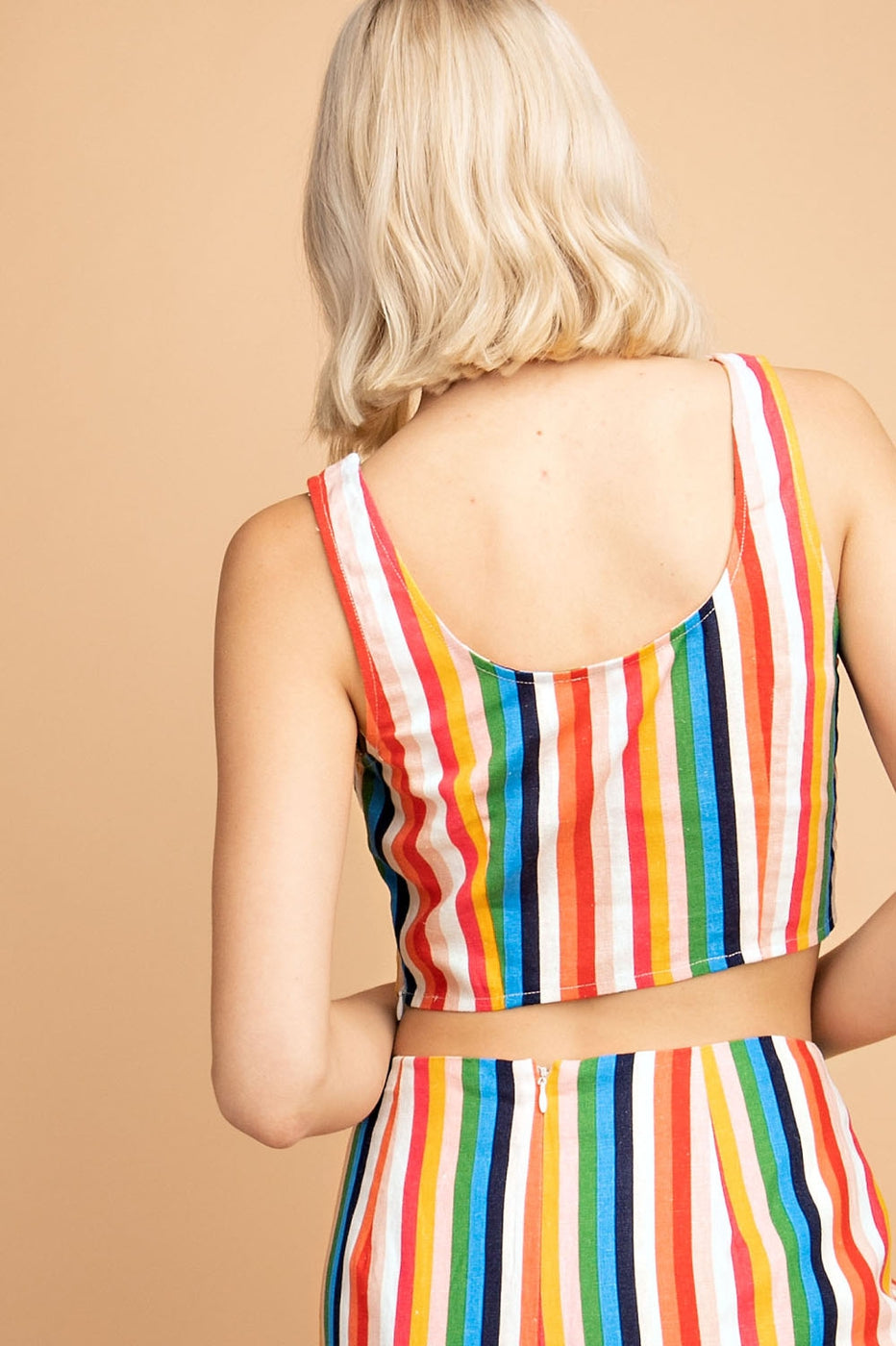 Linen Rainbow Stripe Cropped Top Siin Bees
