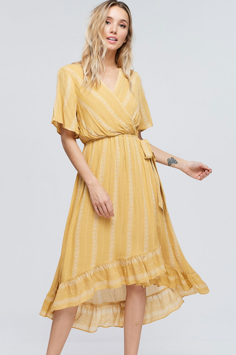 Emily Ruffled Midi Dress With Belt Tie In Mustard Siin Bees