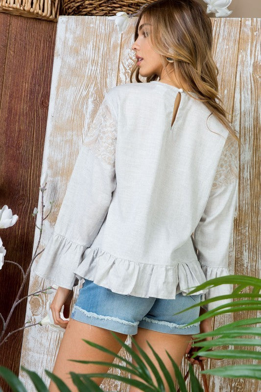 Grey Shoulder Lace with Ruffle Detail Top Siin Bees