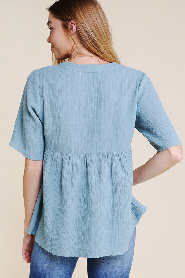 Short Sleeve Soft Top Half Button In Sage Siin Bees