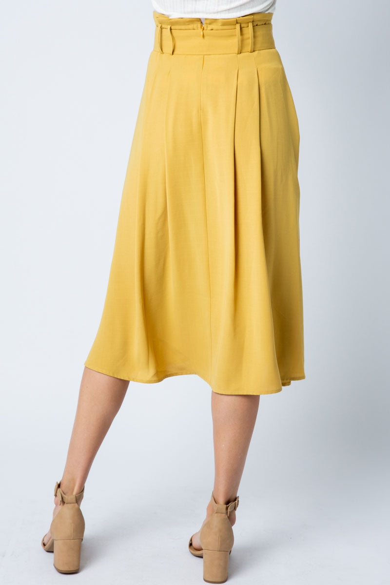 Stylish Midi Skirt Button Detail Waist Belt - Siin Bees
