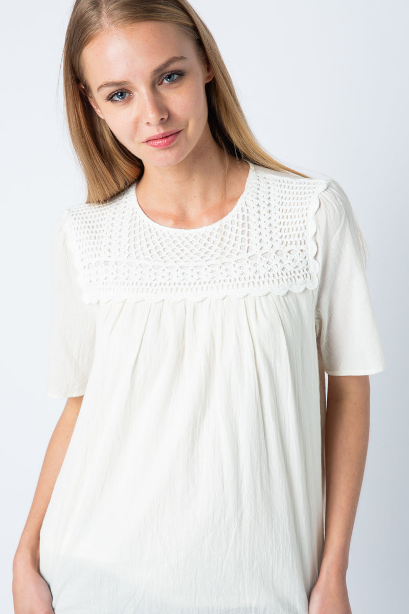 Ivory Short Sleeve Crochet Detail Top With Round Neck Siin Bees