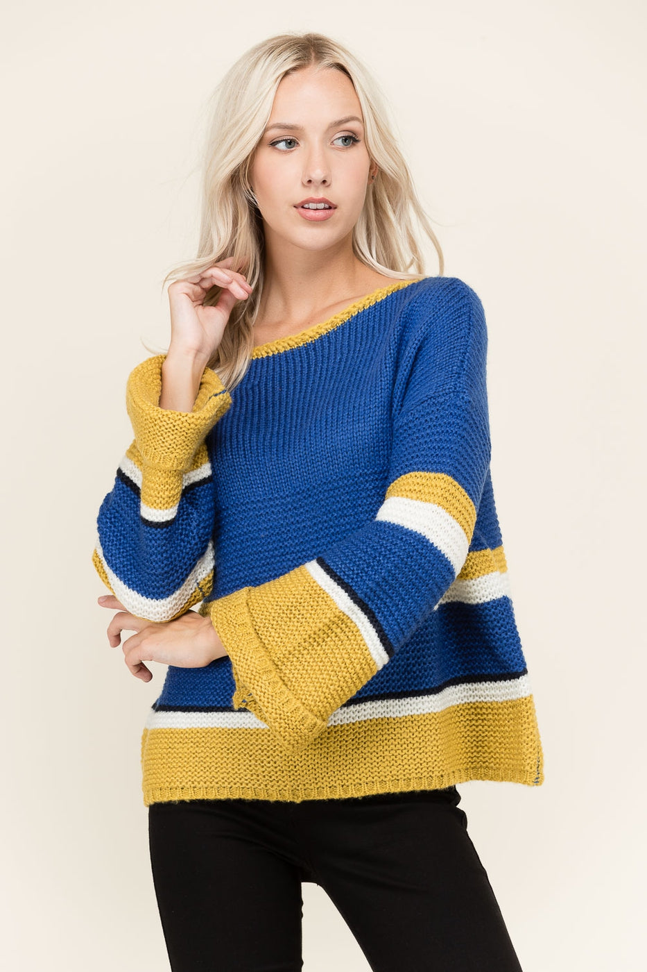 Blue Long Sleeve Sweater Color Black Siin Bees