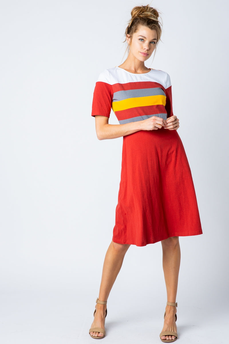 Nina Short Sleeve Midi Dress Color Block Siin Bees