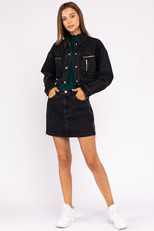 Cropped Denim Jacket with Utility Pockets and Zippers In Vintage Black Siin Bees