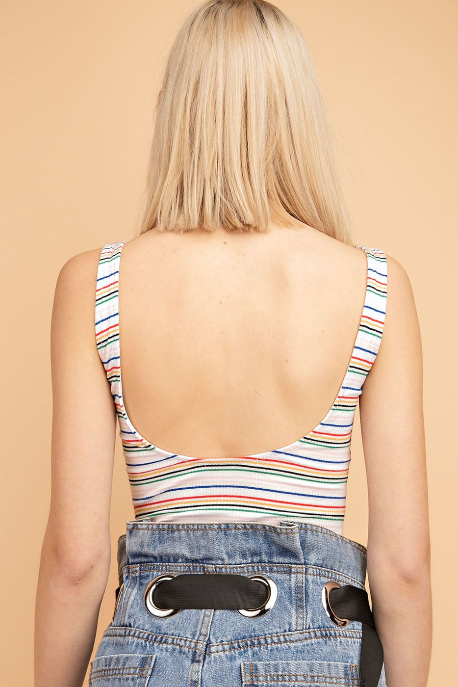 Rainbow Striped Bodycon Bodysuit - Siin Bees