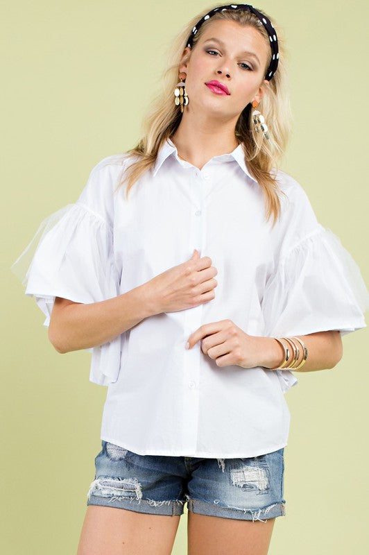 White Blouse with Ruffle Sleeve Solid Collar and Shoulder Slit Detail Siin Bees