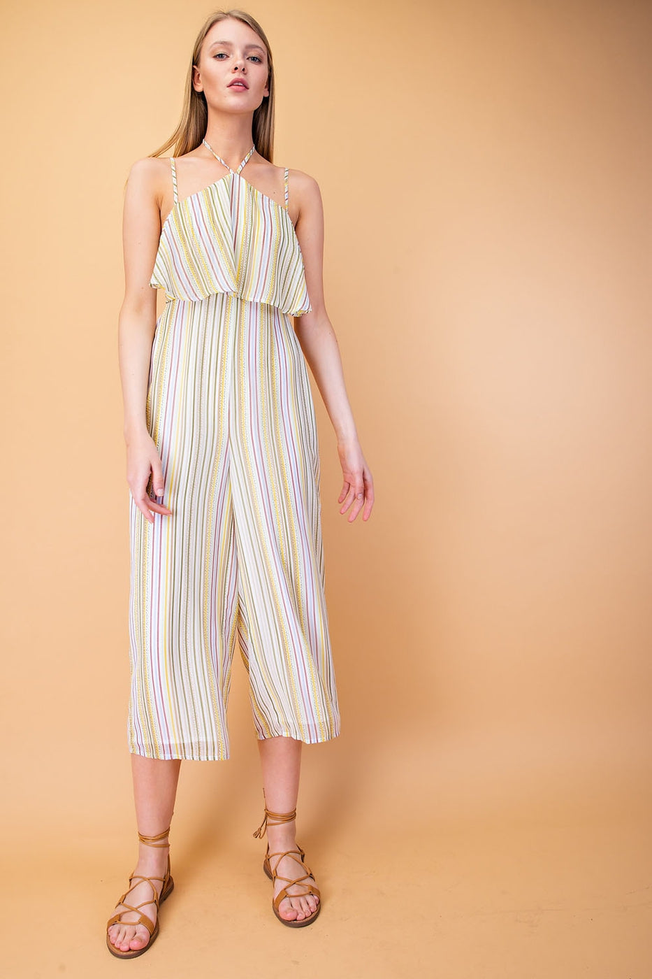 Anna Jumpsuit With Ruffle Halter Cropped In Multi Siin Bees
