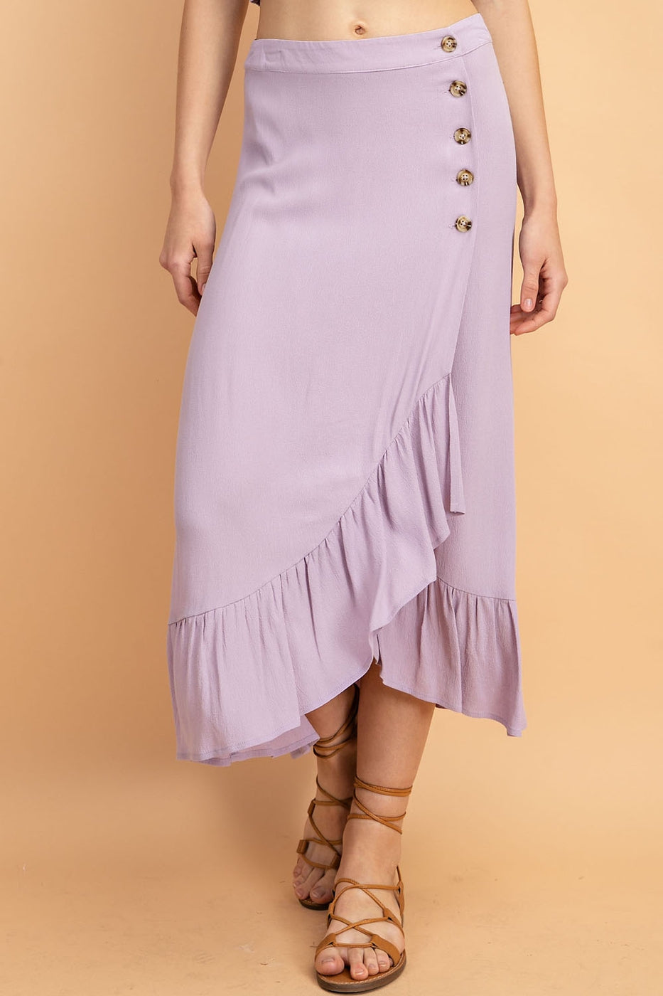 High Waisted Midi Wrap Skirt With Button And Ruffle Trim Detail - Siin Bees