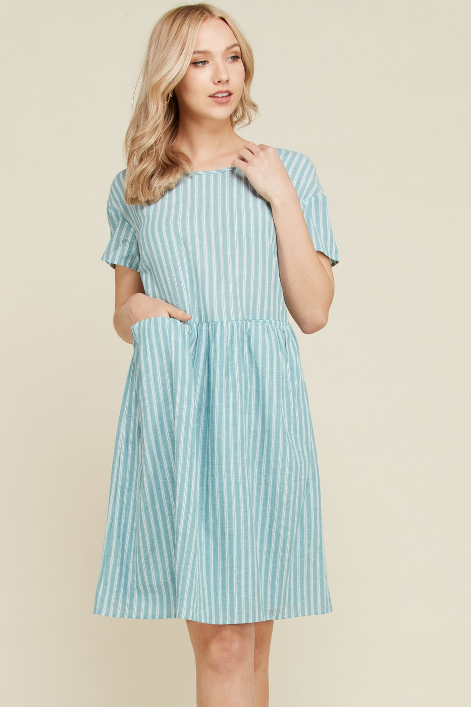 Chloe Cotton Stripe Midi Dress With Cute Pocket In Sage Siin Bees