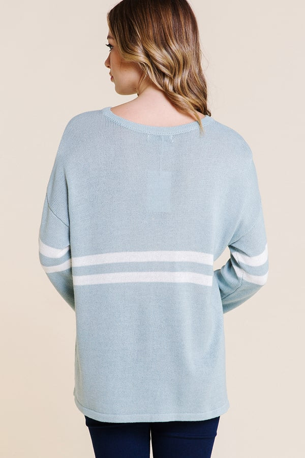 Blue Long Sleeve Double Stripe Sweater Siin Bees