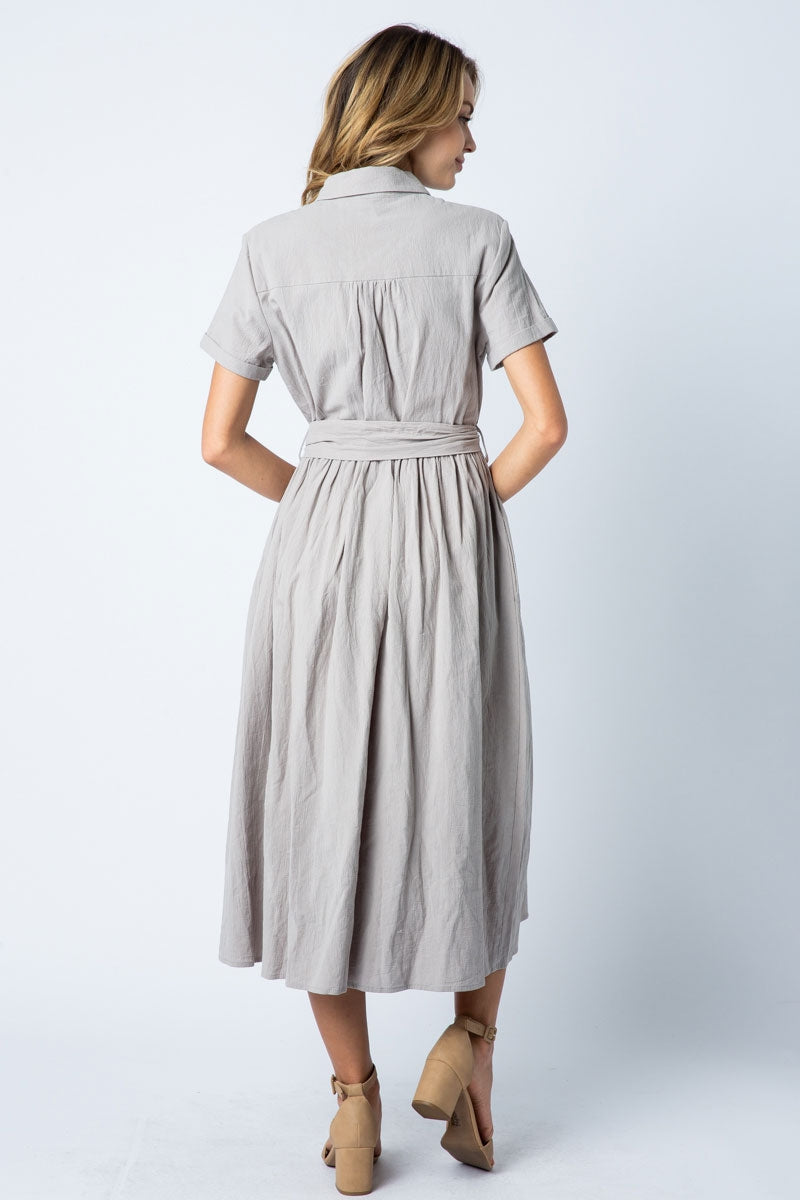 Olivia Midi Dress Short Sleeve With Collared Siin Bees
