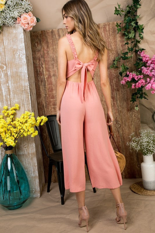 Vivian Jumpsuit With Ruffle Shoulder Back Bow Tie Back Waist Elastic Siin Bees