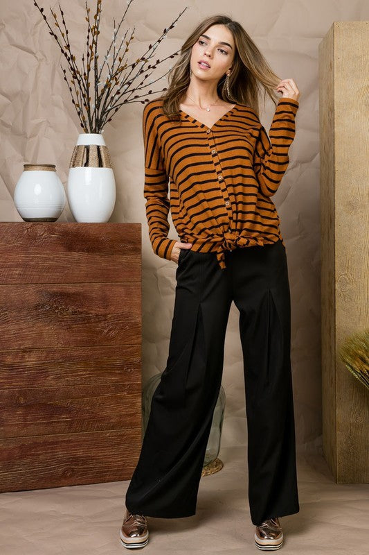 Brush Hacci Stripe Dolman Sleeve Knit Top With Tie Front Siin Bees