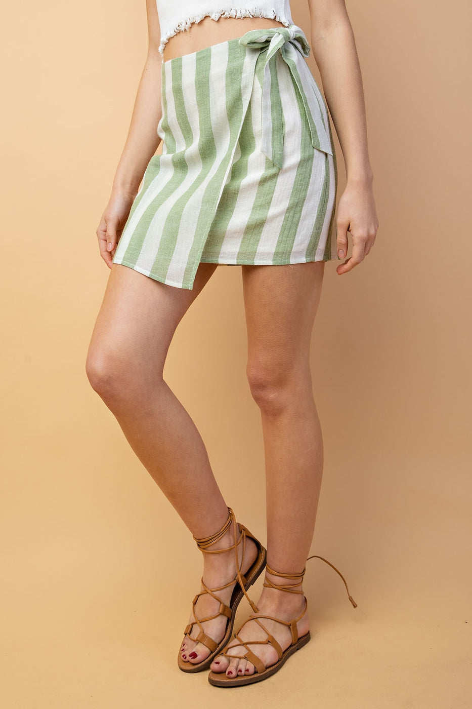 Front Tie Stripe Skirt Siin Bees