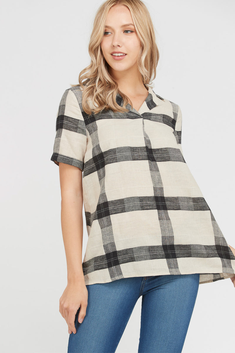 Snappy Short Sleeve Neck Top Plaid Collared In Black Siin Bees
