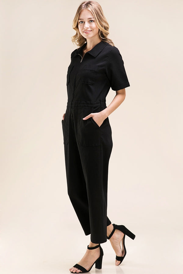 Aleena Jumpsuit Fray Detailed In Black Siin Bees