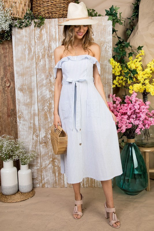 Arya Off Shoulder Front Pocket Waist Belt with Back Zipper Stripe Print Dress Siin Bees