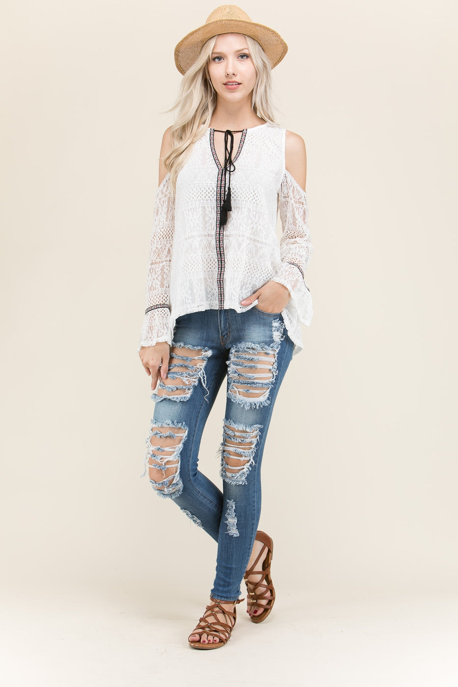 Charming White Sleeves Lace Top Siin Bees