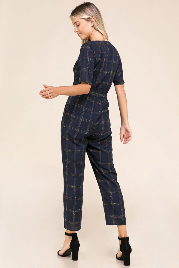 Emerie Navy Short Sleeve Jumpsuit Grid Print Siin Bees