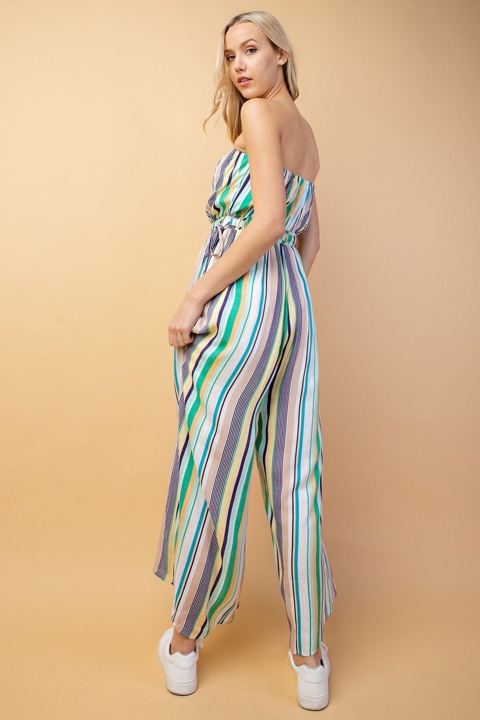 Julia Jumpsuit With Stripe Strapless In green Siin Bees