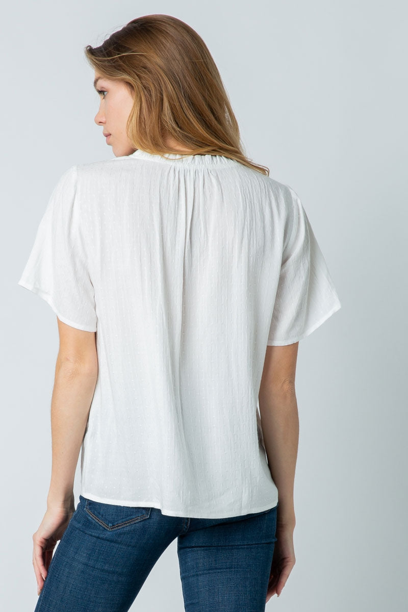 White Short Sleeve Top With Ruffled Adjustable Neckline Siin Bees