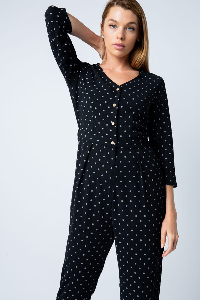 Isabella 3/4 Sleeve Black Jumpsuit Front Button Detailed Polka Dot - Siin Bees