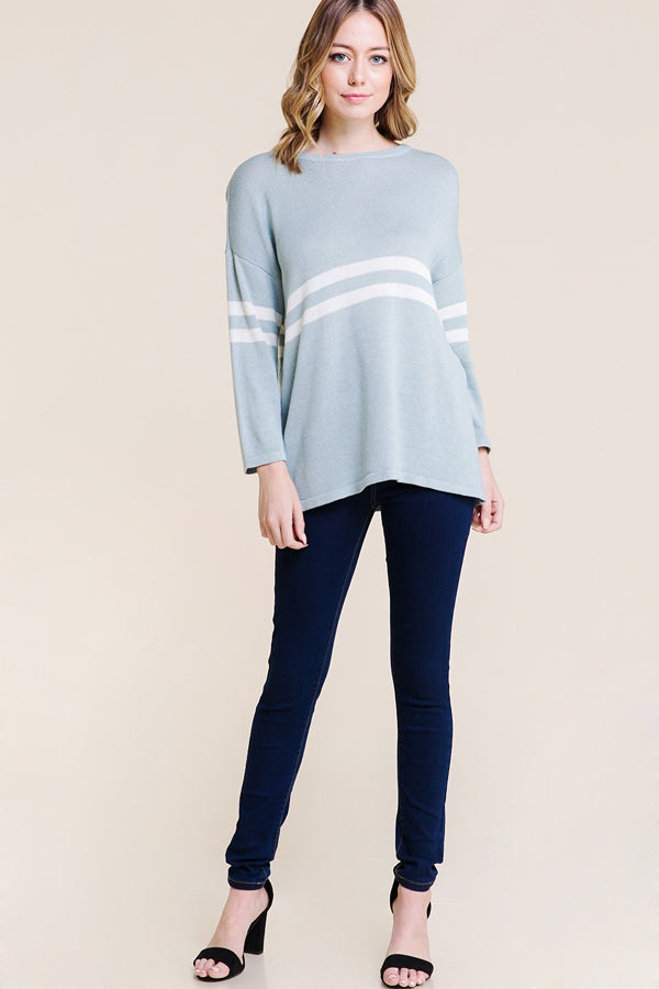Pretty Long Sleeve Stripe Sweater Knit Varsity In Bleu Siin Bees