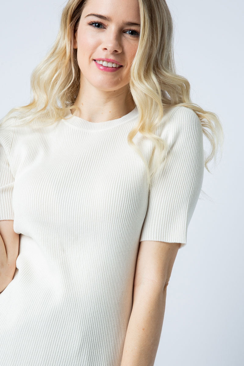 Summer White Ribbed Sweater Knit Top - Siin Bees