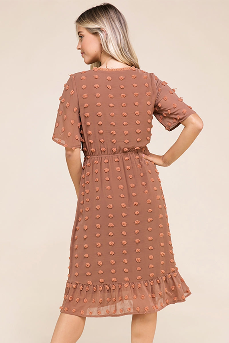 Leilani Fashion Midi Dress Polka Dot Pom Pom In Rust Siin Bees