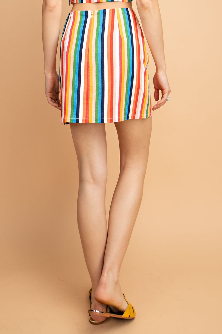 Linen Rainbow Stripe Mini Skirt With Buttons Siin Bees
