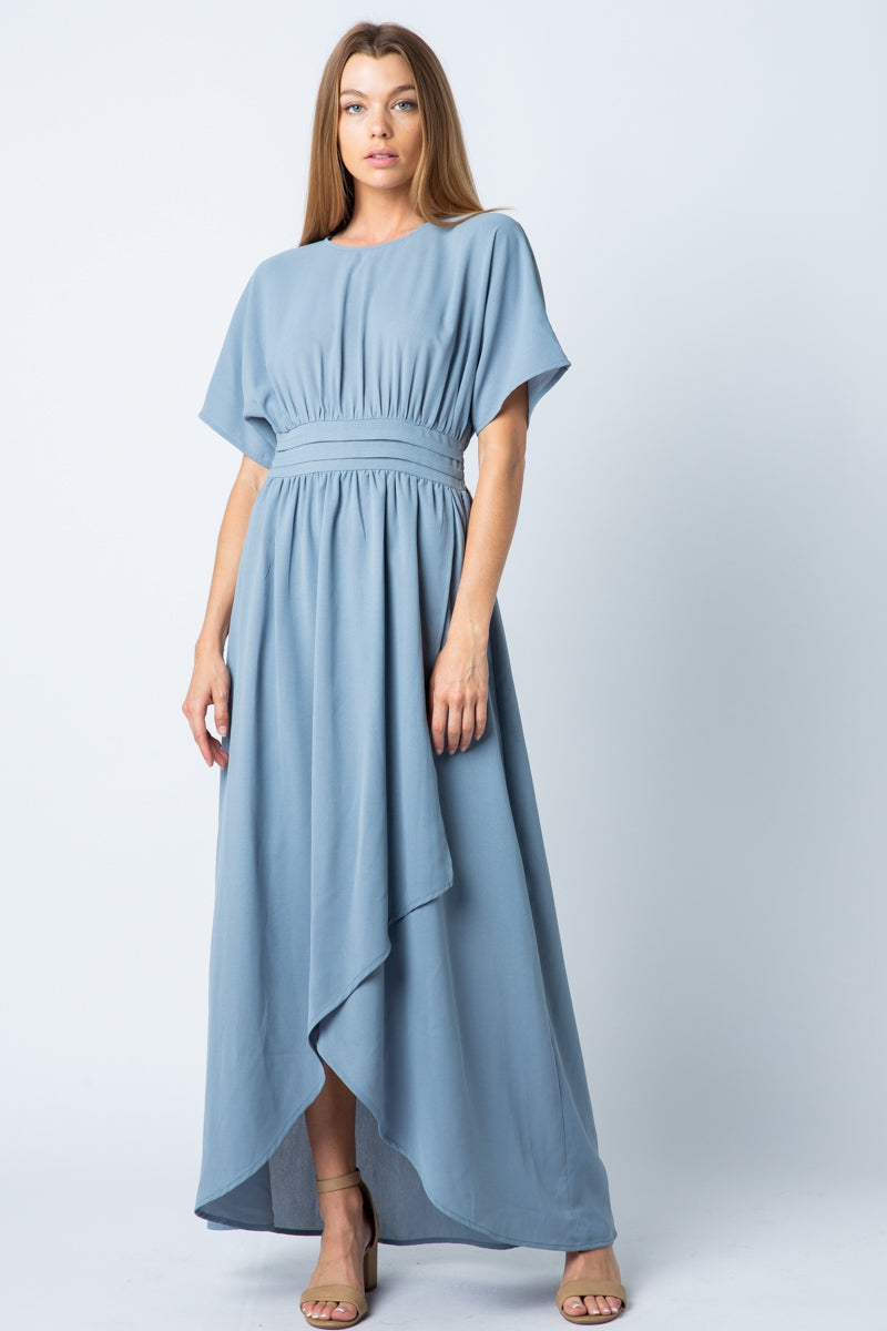 Lydia Maxi Dress High Low With Pleated Waist Siin Bees