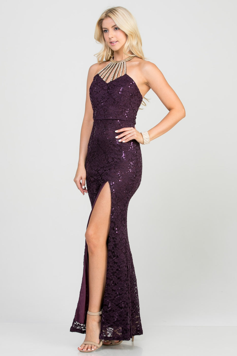 Embellished Neck Open Back Sequin Lace Long Bodycon Dress Siin Bees