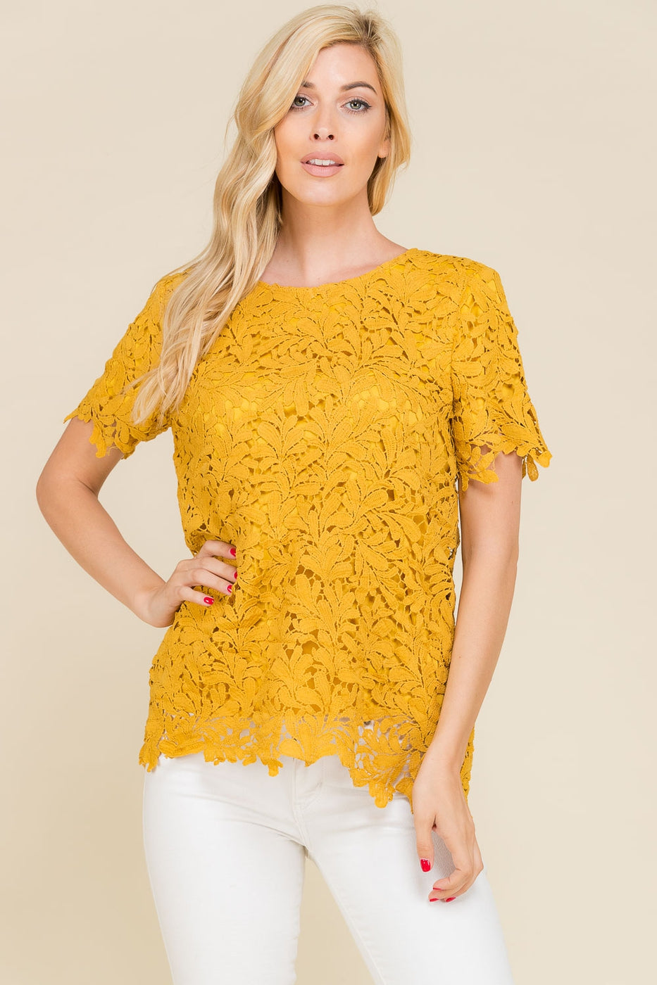 Crochet Short Sleeve Lace Top In Mustard Siin Bees
