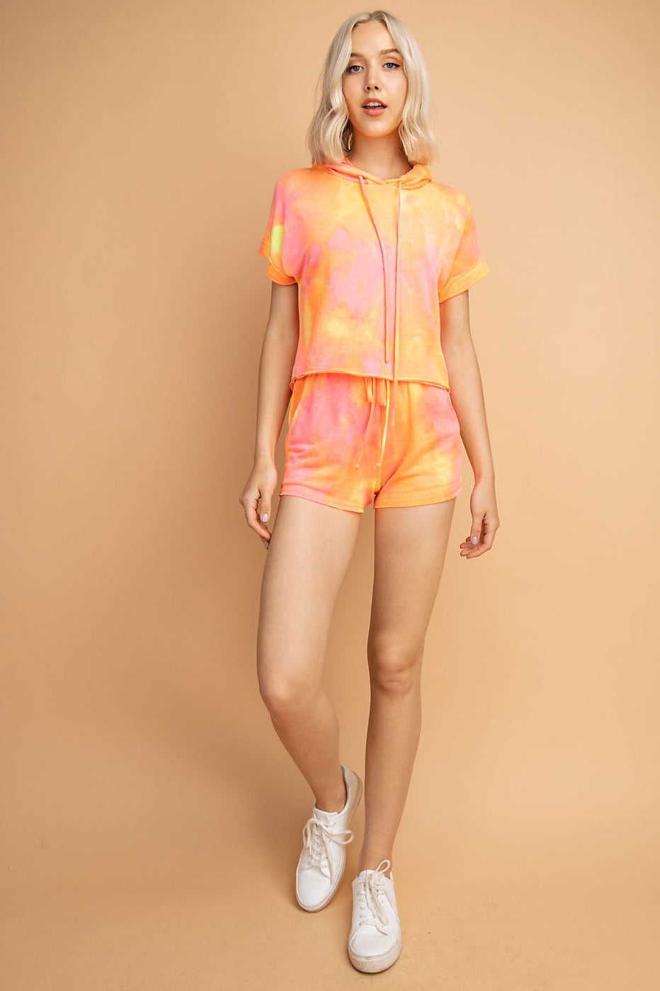 Tie Dye Roll up Short Sleeve Hoodie Top Siin Bees
