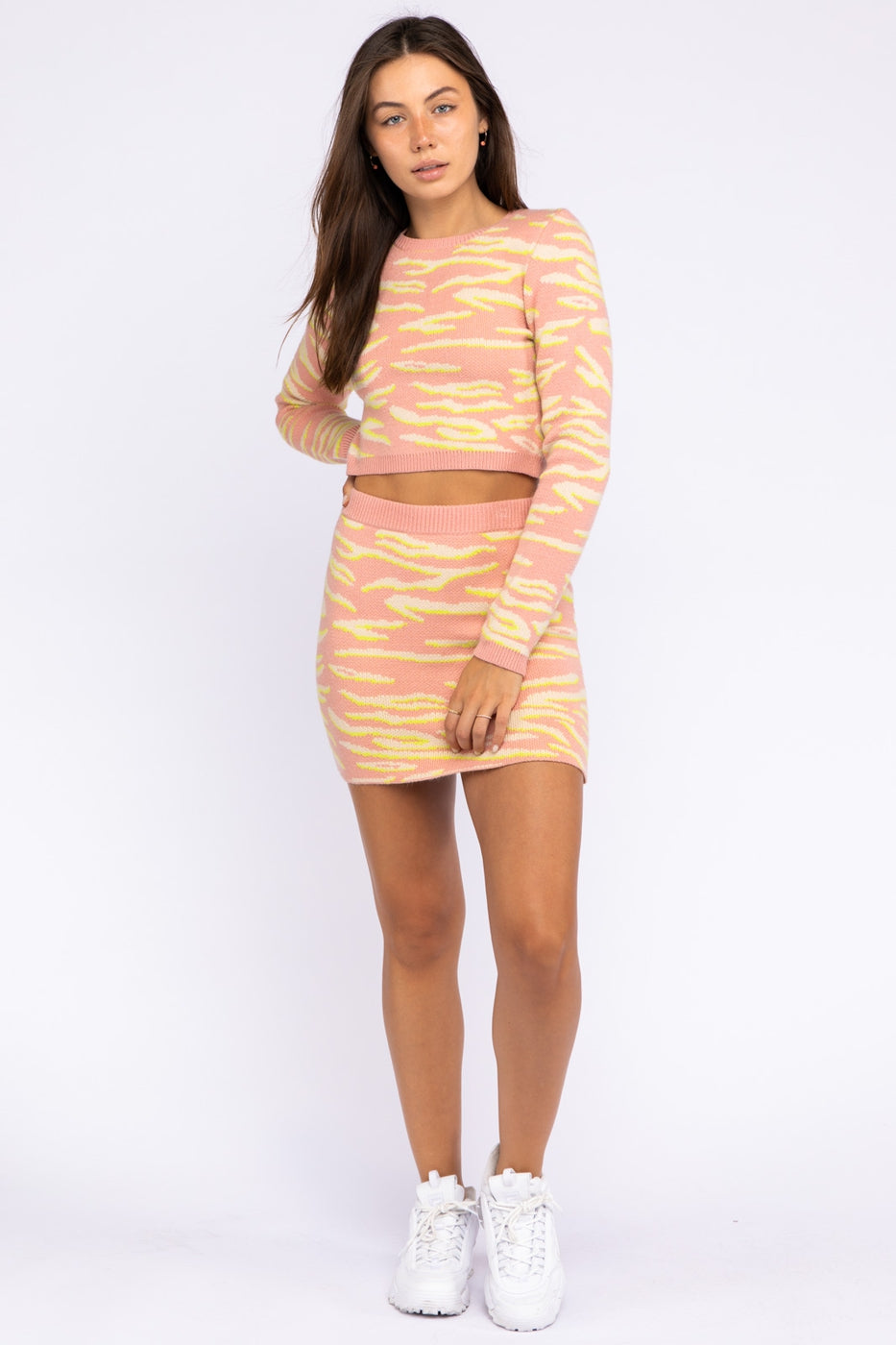 Animal Jacquard Knit Bodycon Mini Skirt In Baby Pink Siin Bees