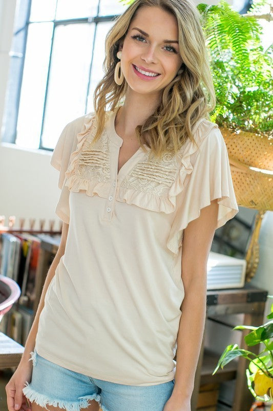 Lace Pintuck Button Down Wide Ruffle Sleeve Knit Top Siin Bees