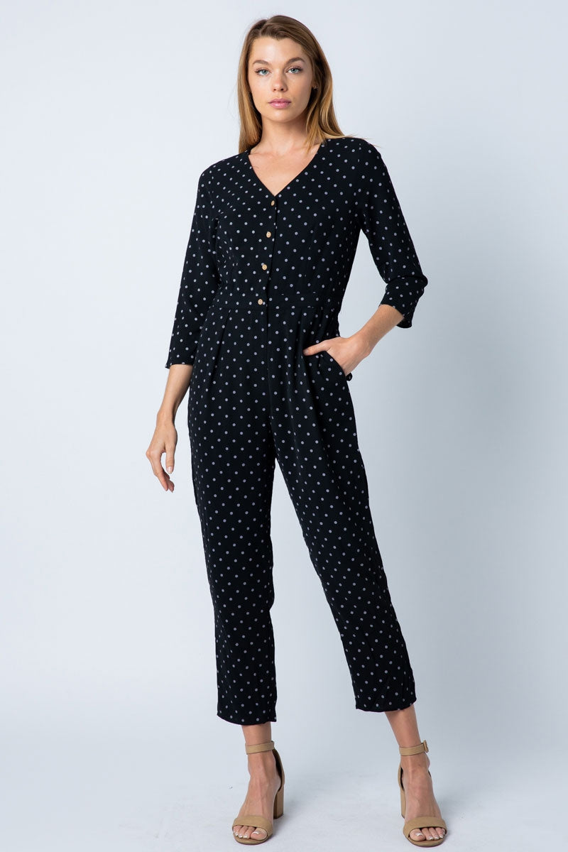 Isabella 3/4 Sleeve Black Jumpsuit Front Button Detailed Polka Dot Siin Bees
