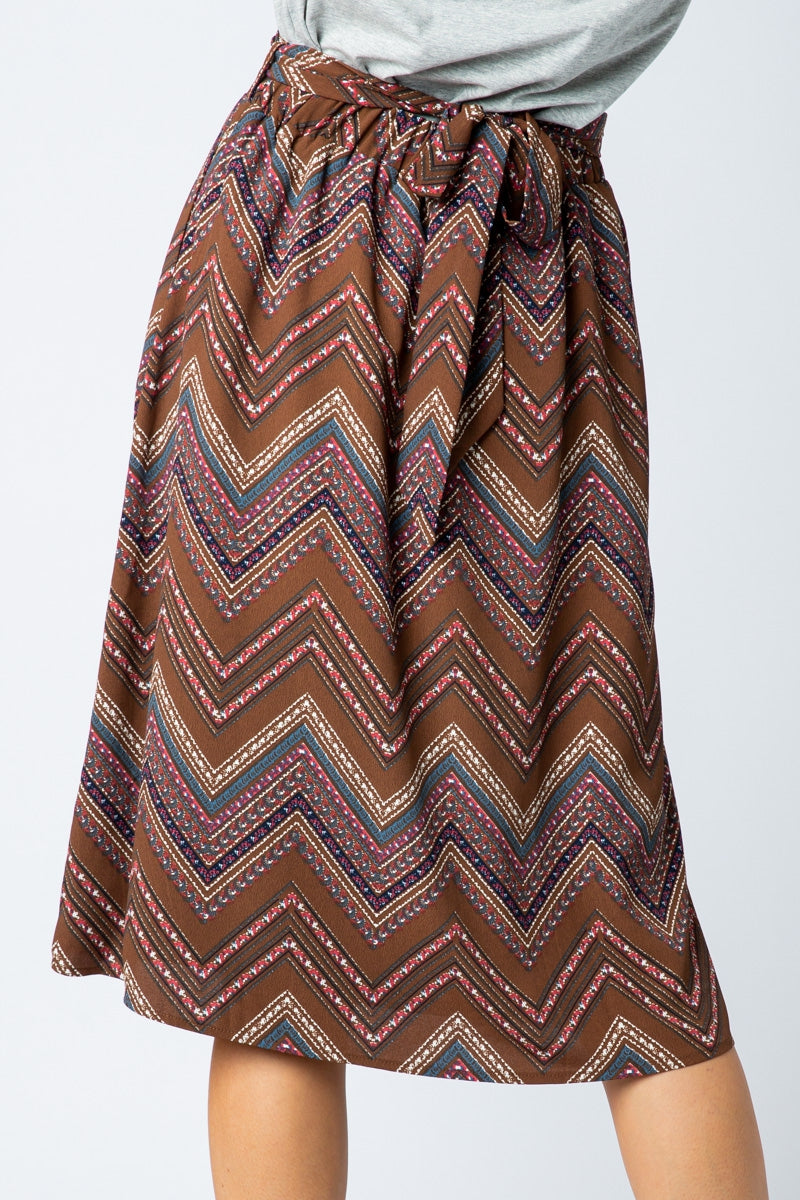 Sophia Printed Midi Skirt With Self Belt Tie Siin Bees