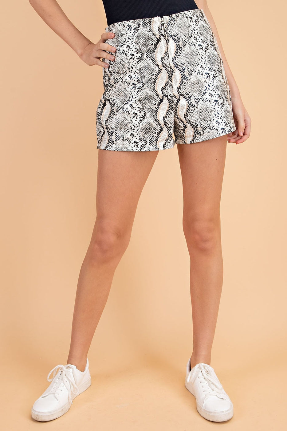High Waisted Snake Print Shorts In Grey Siin Bees