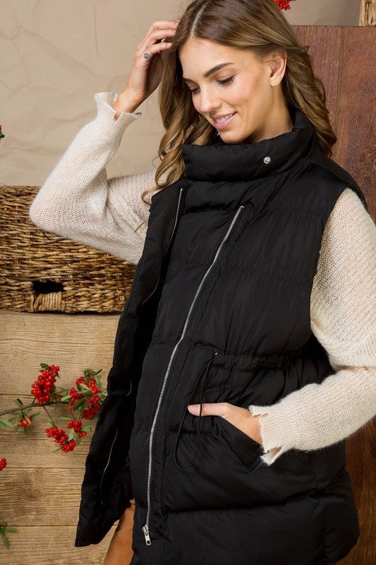 Black Drawstring Cinched Waist Padded Vest With Pocket Siin Bees