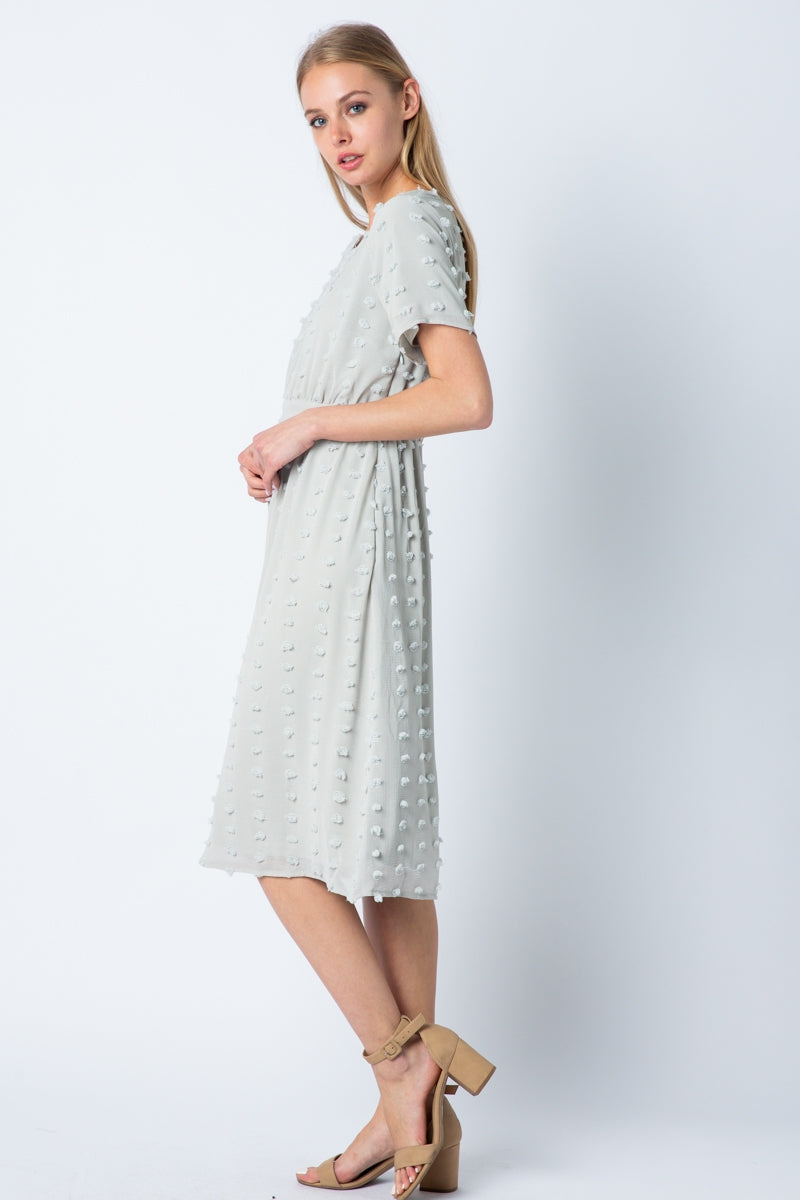 Lucille Mini Dress With Swiss Dot In Grey Siin Bees
