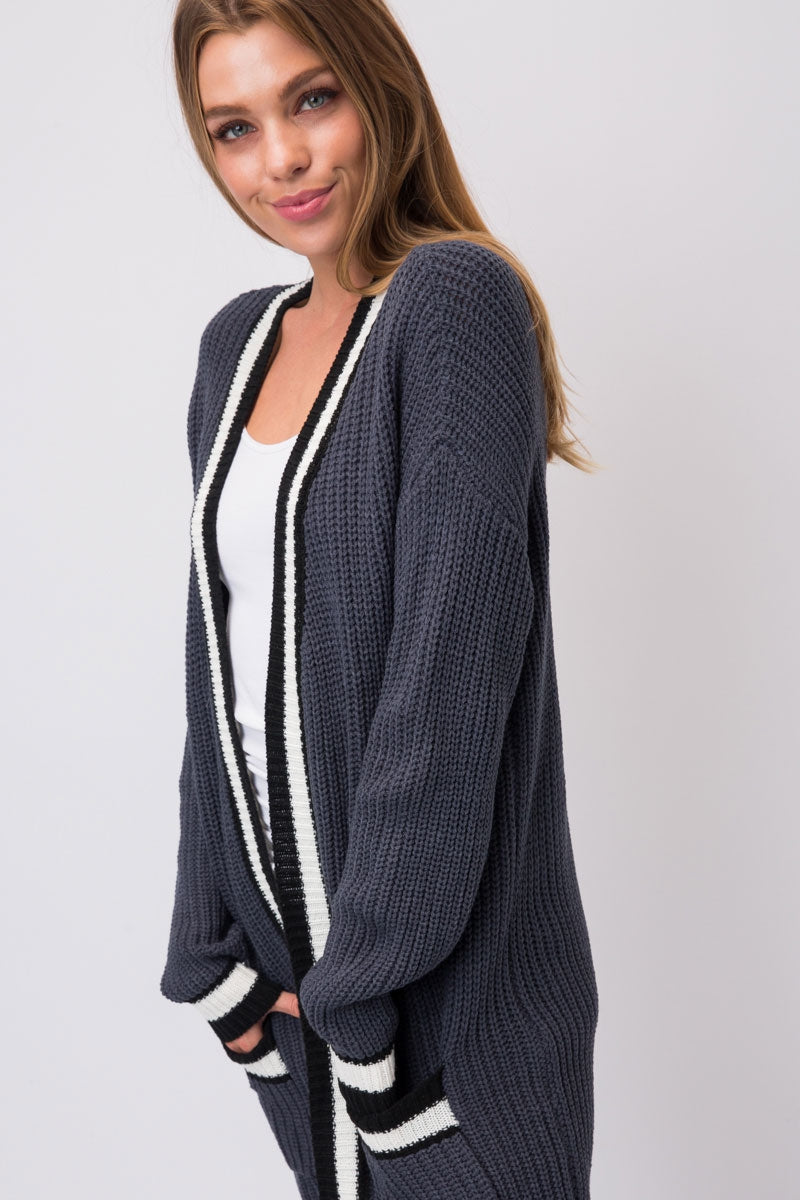 Slate Chunky Knit Cardigan With Black & White Striped Edging Siin Bees