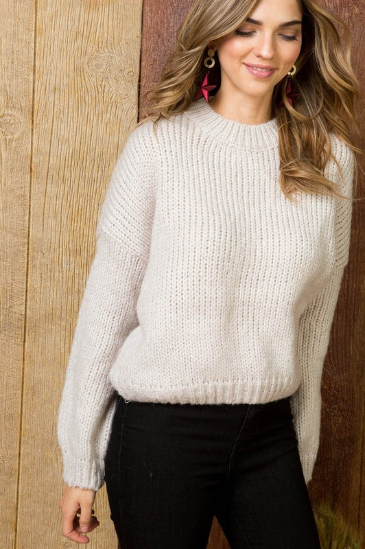 Ivory Crew Neck Dolman Sleeve Basic Solid Ribbed Sweater Siin Bees