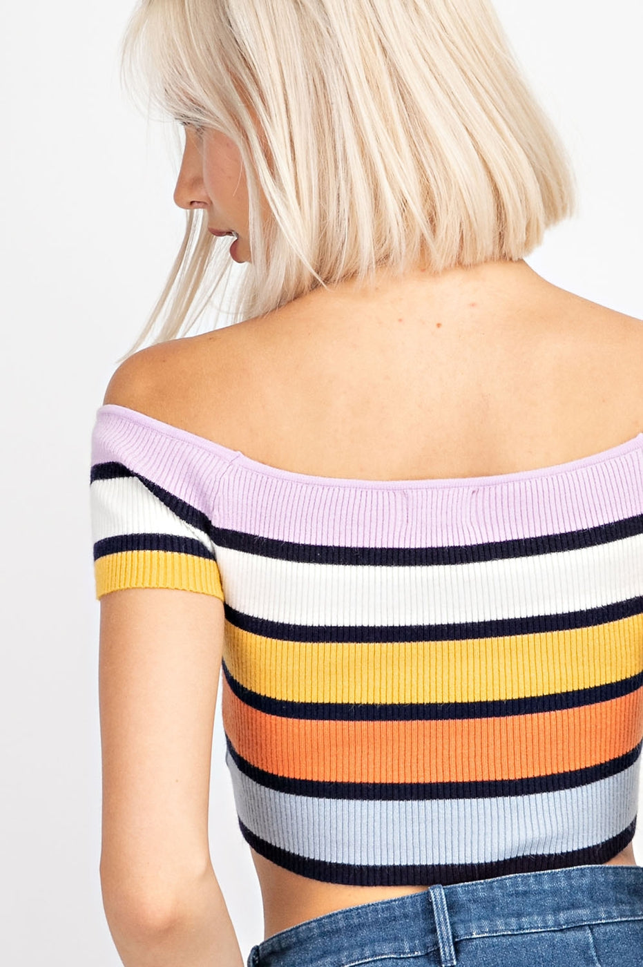 Off Shoulder Striped Short Sleeve Crop Top Siin Bees